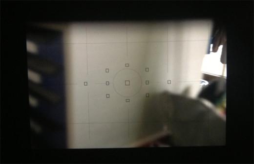 Der Blick durch den Sucher mit einer Mattscheibe von Canon EG-D an der Canon 6D